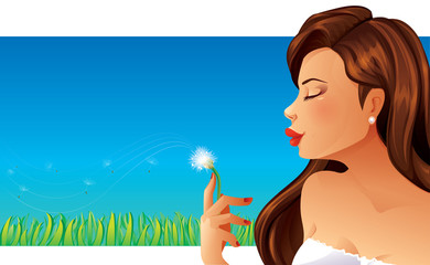 Woman is blowing into a dandelion flower