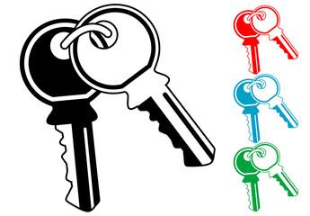 Pictograma llaves en varios colores