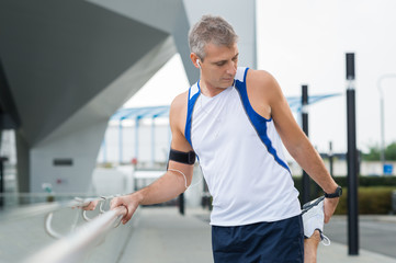 Mature Male Jogger Exercising