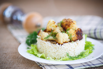 fried cauliflower with boiled rice