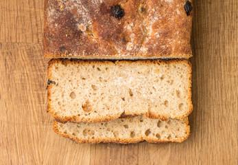 Sliced loaf of homemade unleavened wheat bread