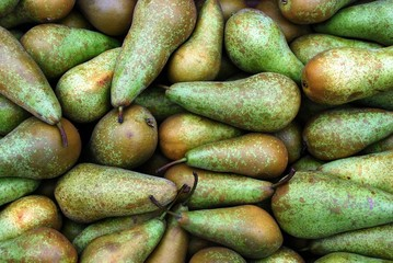 Green pears at a famers market in Vilnius city
