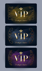 VIP cards with abstract background.