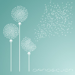 Abstract background with dandelions in the wind.