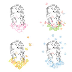 Four seasons - spring, summer, autumn, winter. Female head for d