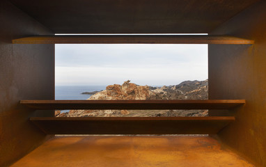Landscape in Creus Cape with viewpoint in Mediterranean coast. S