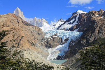 Glacier viewpoint at Mount Fitz Roy, Los Glaciares National Park