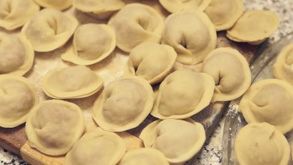 Siberian meat dumplings ready to be cooked