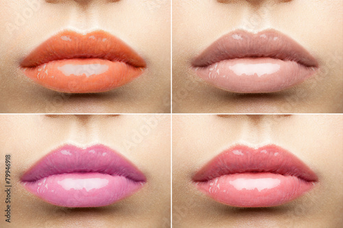 Collage of  nude glossy lips - 79946918