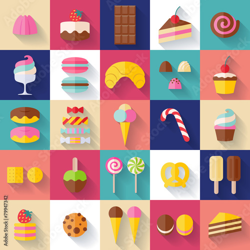 Fototapeta Set of sweet food icons.