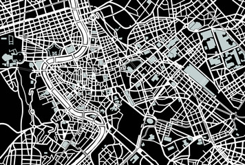 Rome black and white map