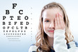 Girl reviewing eyesight. - 79947713