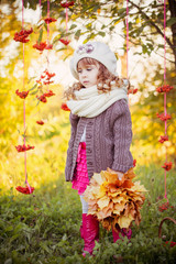 beautiful girl with autumn park