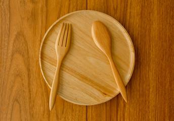 Wood plate spoon fork