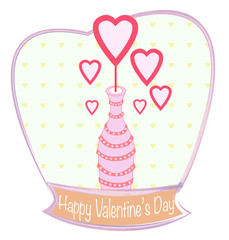Decor bottle with hearts Valentine's day card design, colorful v