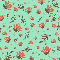 Cute floral seamless pattern, fabric background, colorful flower