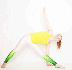 young beautiful yoga posing
