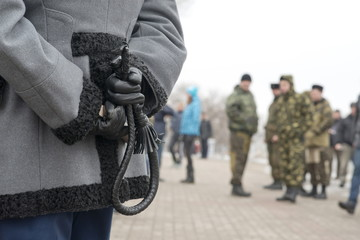 Cossack whip at a protest rally, Voronezh, Russia.