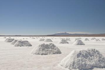 Salt extraction at Salar de Uyuni, Bolivia.