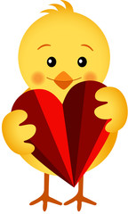 Chick Holding a Heart