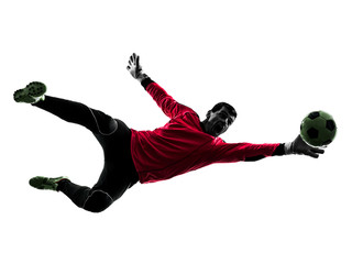 soccer player goalkeeper man catch ball silhouette