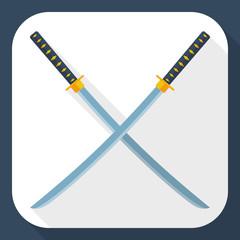 Katana swords icon with long shadow