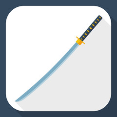 Katana sword icon with long shadow