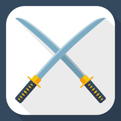 Japanese swords icon with long shadow