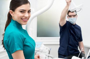 Dental assistants in dental clinic