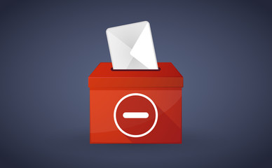 Red ballot box with a subtraction sign