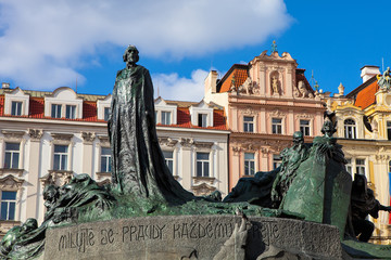 statue of Jan Hus, the Old Town Square in Prague Czech Republic