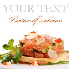 The tartare of salmon on bun