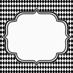 Black and White Diamond Background with Embroidery