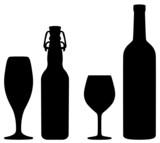Bier und Wein Silhouetten