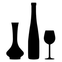 Weinflasche mit Weinglas Silhouette