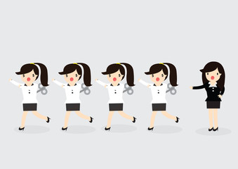 Wind-Up Business woman Concept