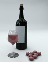 Bottiglia di vino e bicchiere con acini d'uva