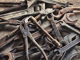 set of old dirty tools in vintage style