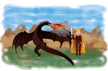 Magical dragon and king, vector illustration