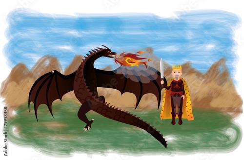 Foto op Aluminium Kasteel Magical dragon and king, vector illustration