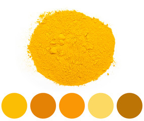 Color Palette Of Yellow Turmeric Powder Pile
