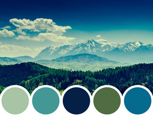 Color Palette Of Mountain Landscape And Blue Sky With Clouds