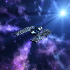 Starry space 3d scene with spaceship