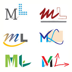 Ensemble d'Icones Lettre M et L pour Design Logos