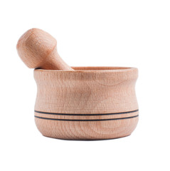 Handmade wooden pot isolated on white background