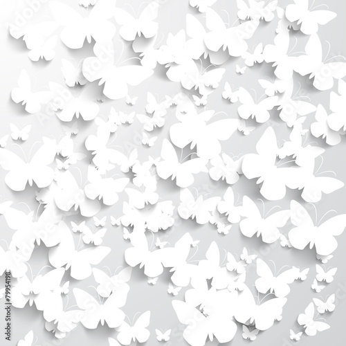 Background with White Butterflies