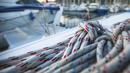 Sailing yacht rigging, ropes closeup.