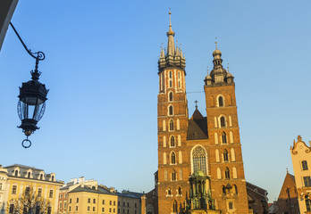 Mariacki church in Rynek Glowny - The main square of Krakow.