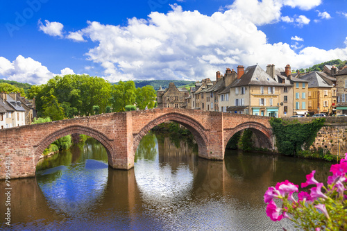 Leinwandbild Motiv Espalion - one of the most beautiful villages of France (Aveyron