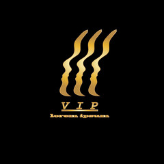 vip logo, golden important person on a black background